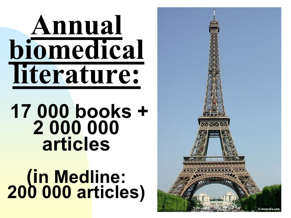 Annual biomedical literature: 17 000 books + 2 000 000 articles (in Medline: 200 000 articles)