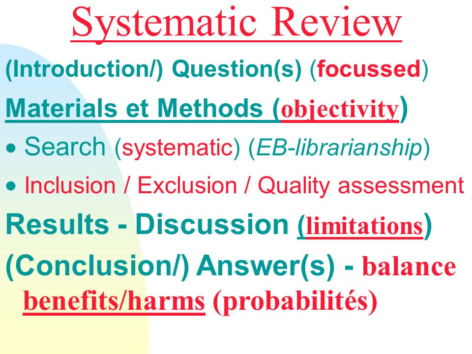 Systematic Review Results - Discussion (limitations)