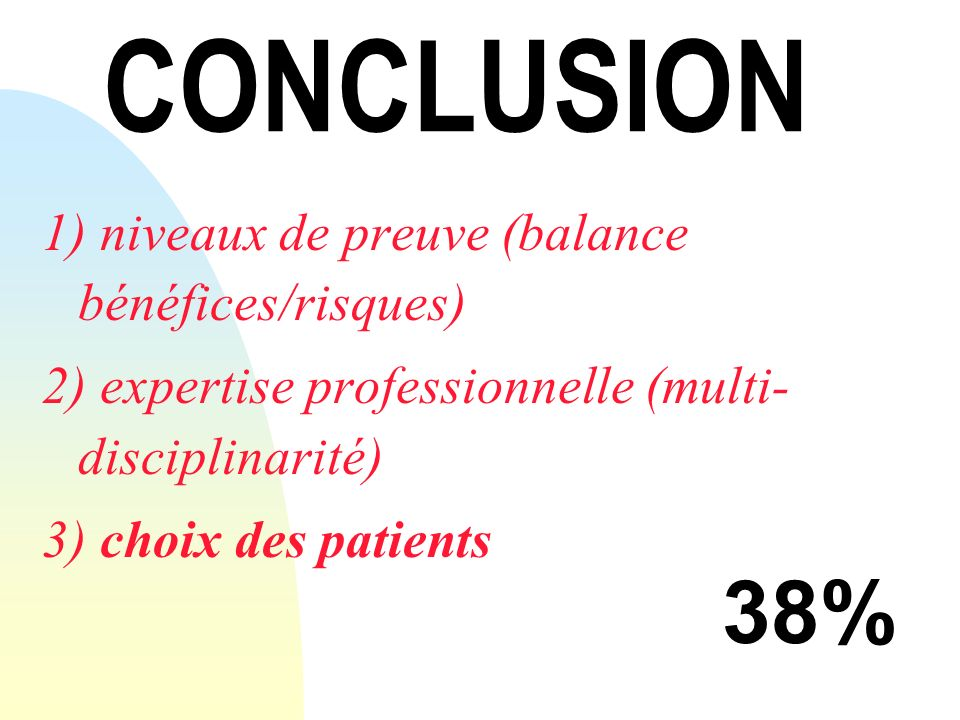 CONCLUSION 38% 1) niveaux de preuve (balance bénéfices/risques)