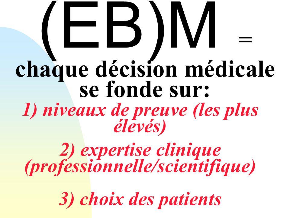 (EB)M = chaque décision médicale se fonde sur: