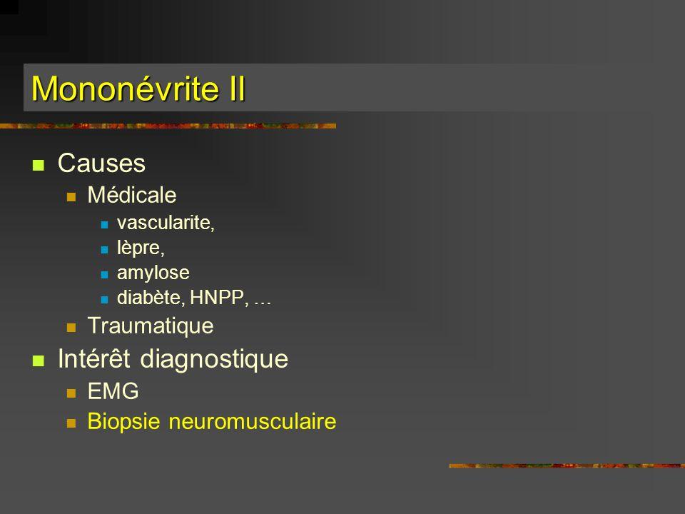 Mononévrite II Causes Intérêt diagnostique Médicale Traumatique EMG