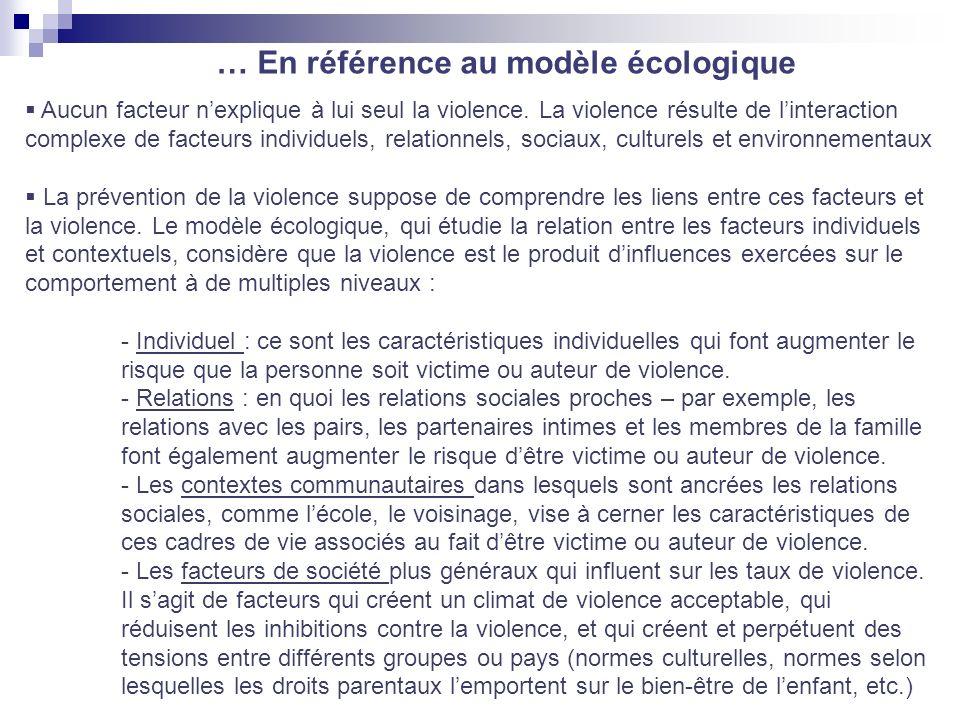 … En référence au modèle écologique