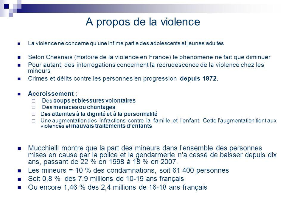 A propos de la violence La violence ne concerne qu'une infime partie des adolescents et jeunes adultes.