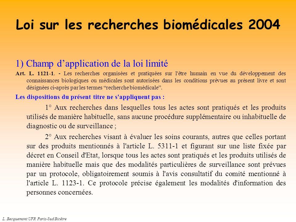 Loi sur les recherches biomédicales 2004