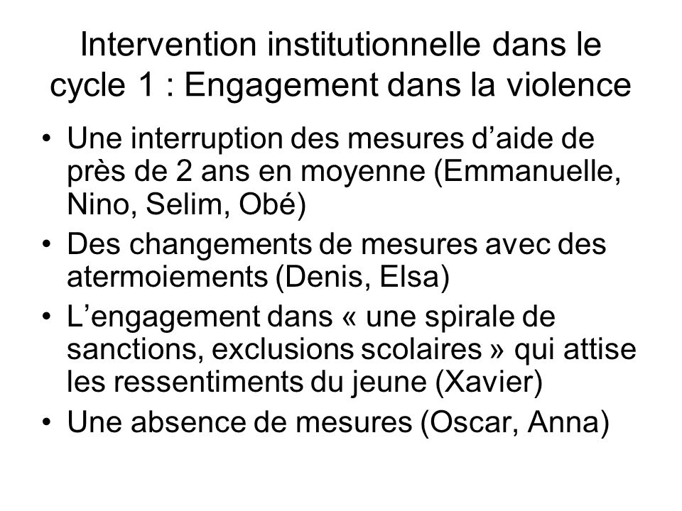 Intervention institutionnelle dans le cycle 1 : Engagement dans la violence