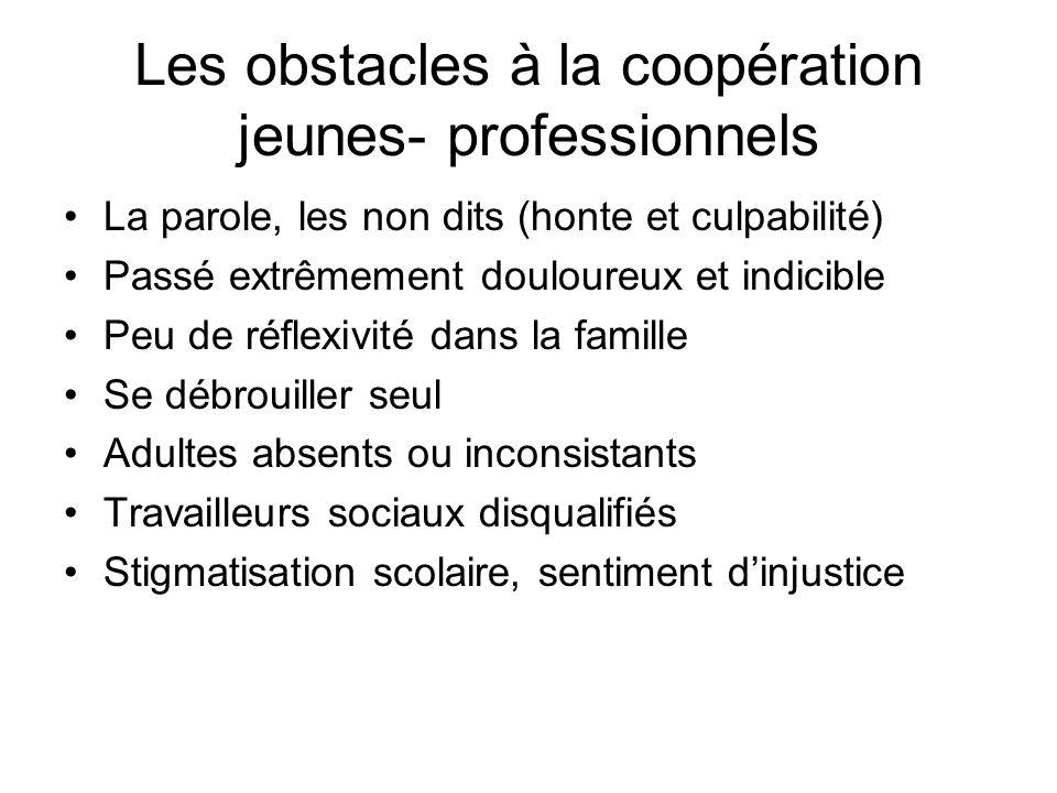 Les obstacles à la coopération jeunes- professionnels