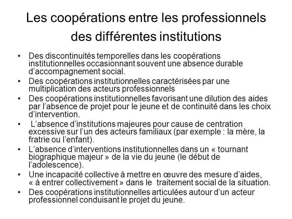 Les coopérations entre les professionnels des différentes institutions