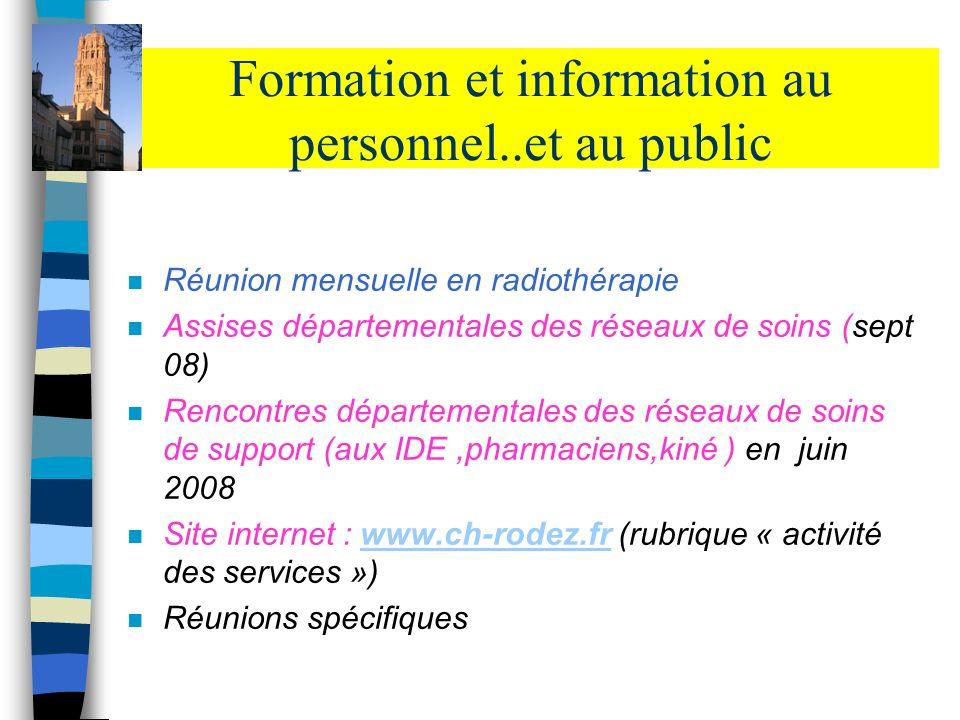 Formation et information au personnel..et au public