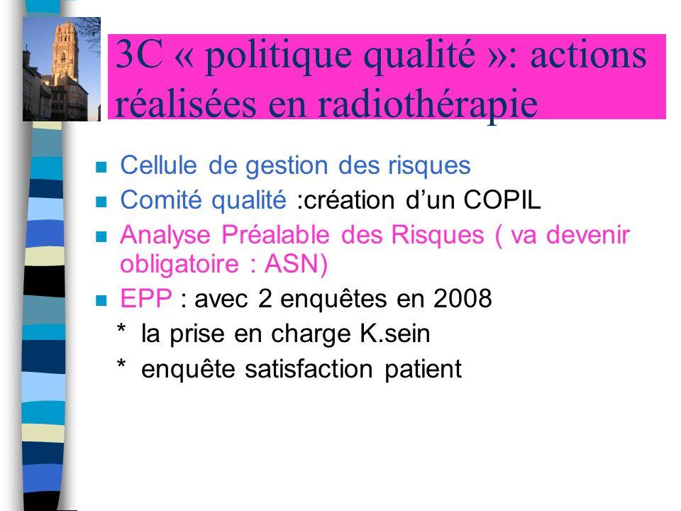 3C « politique qualité »: actions réalisées en radiothérapie