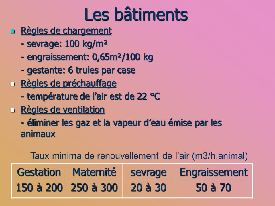 Les bâtiments Gestation Maternité sevrage Engraissement 150 à 200