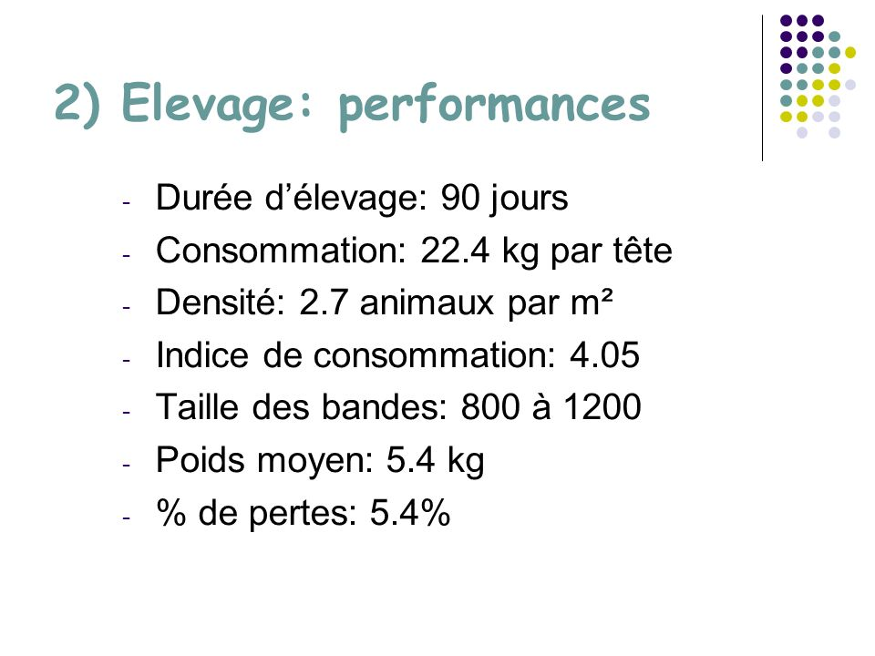 2) Elevage: performances