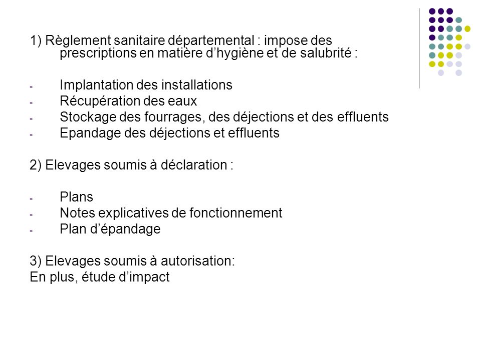 1) Règlement sanitaire départemental : impose des prescriptions en matière d'hygiène et de salubrité :