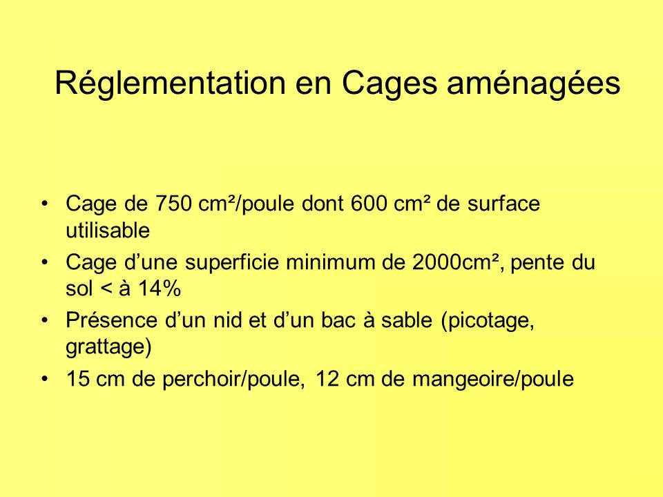 Réglementation en Cages aménagées