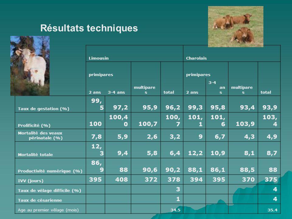 Résultats techniquesLimousin. Charolais. primipares. multipares. total. 2 ans. 3-4 ans. Taux de gestation (%)