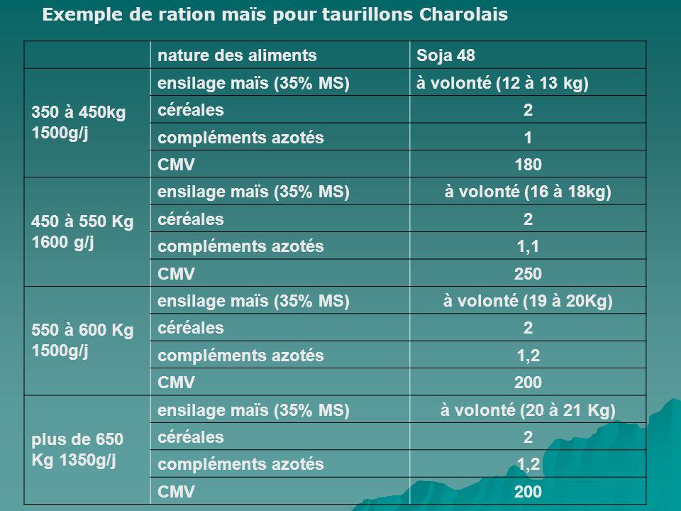 Exemple de ration maïs pour taurillons Charolais