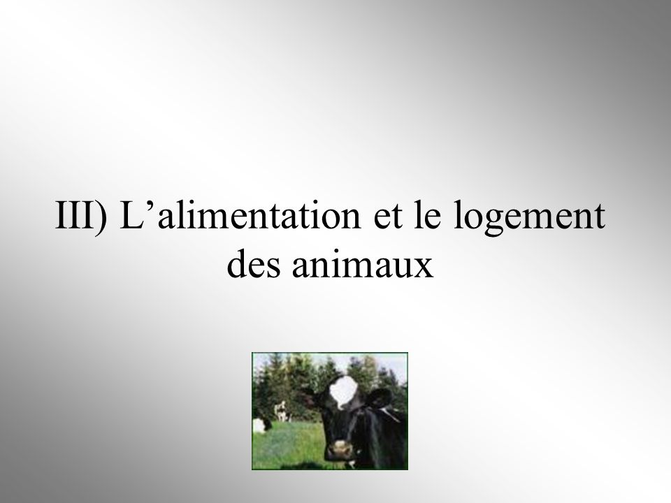 III) L'alimentation et le logement des animaux