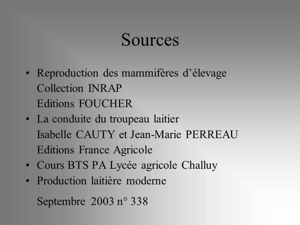 Sources Reproduction des mammifères d'élevage Collection INRAP