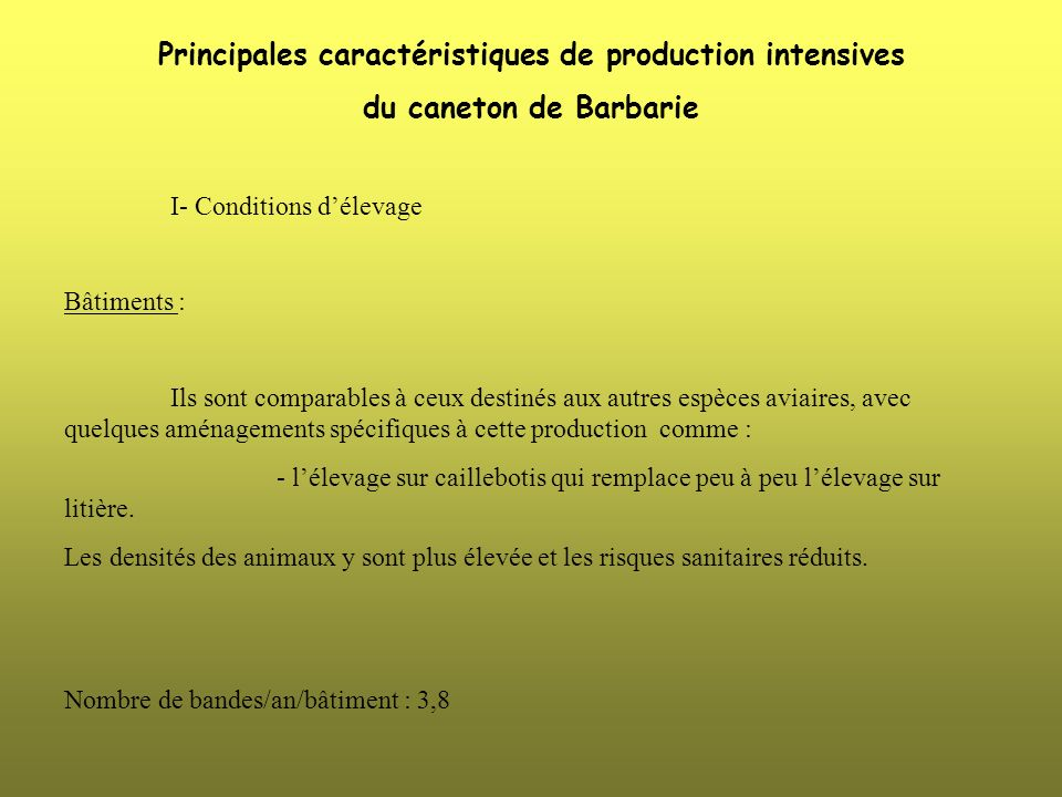 Principales caractéristiques de production intensives