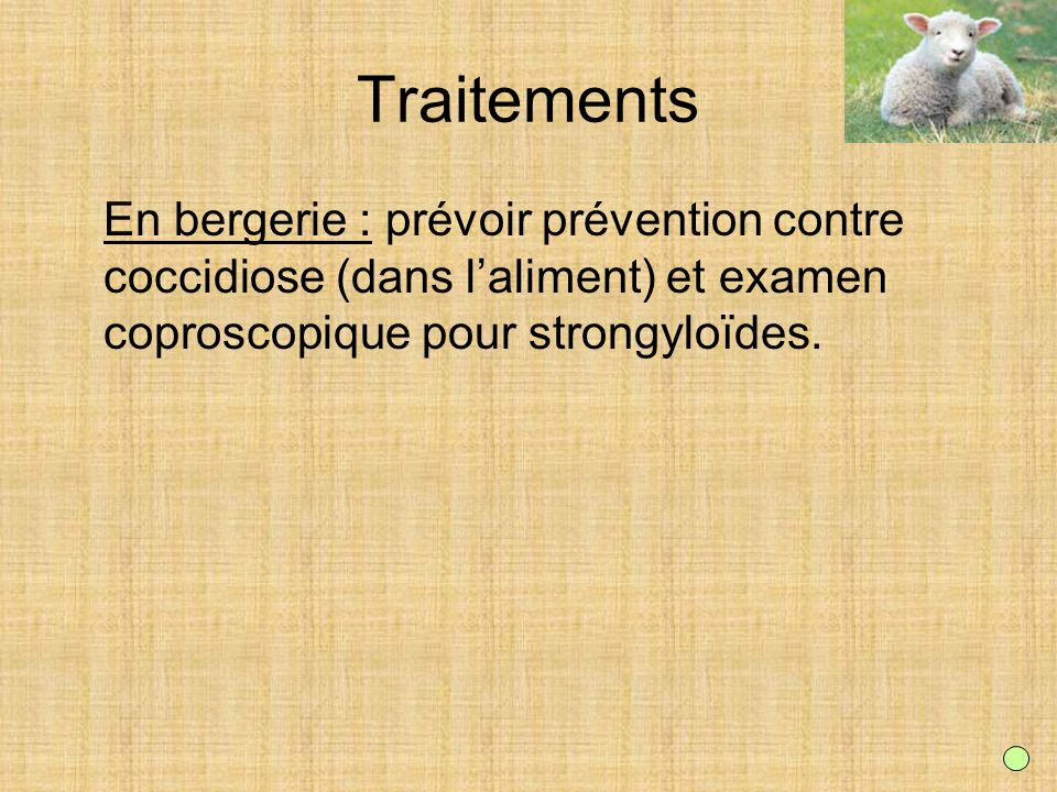 Traitements En bergerie : prévoir prévention contre coccidiose (dans l'aliment) et examen coproscopique pour strongyloïdes.