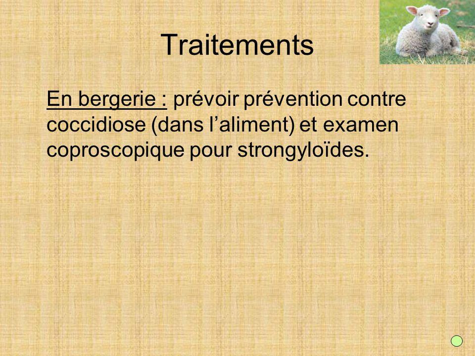 TraitementsEn bergerie : prévoir prévention contre coccidiose (dans l'aliment) et examen coproscopique pour strongyloïdes.
