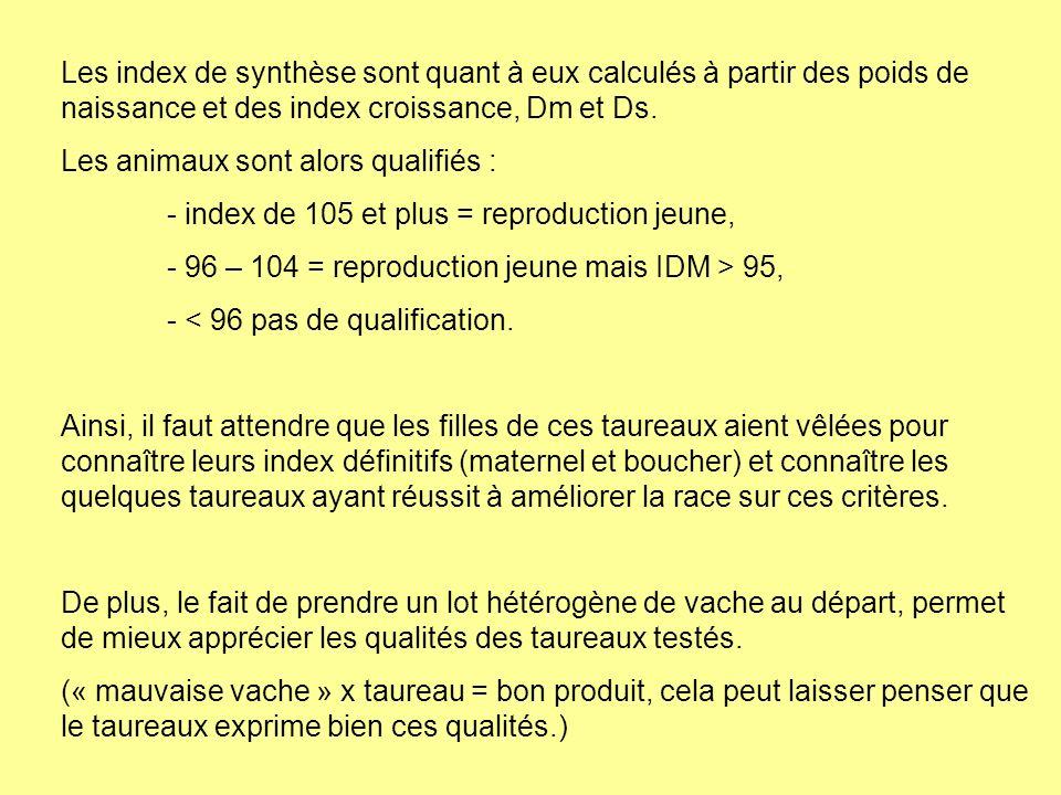 Les index de synthèse sont quant à eux calculés à partir des poids de naissance et des index croissance, Dm et Ds.