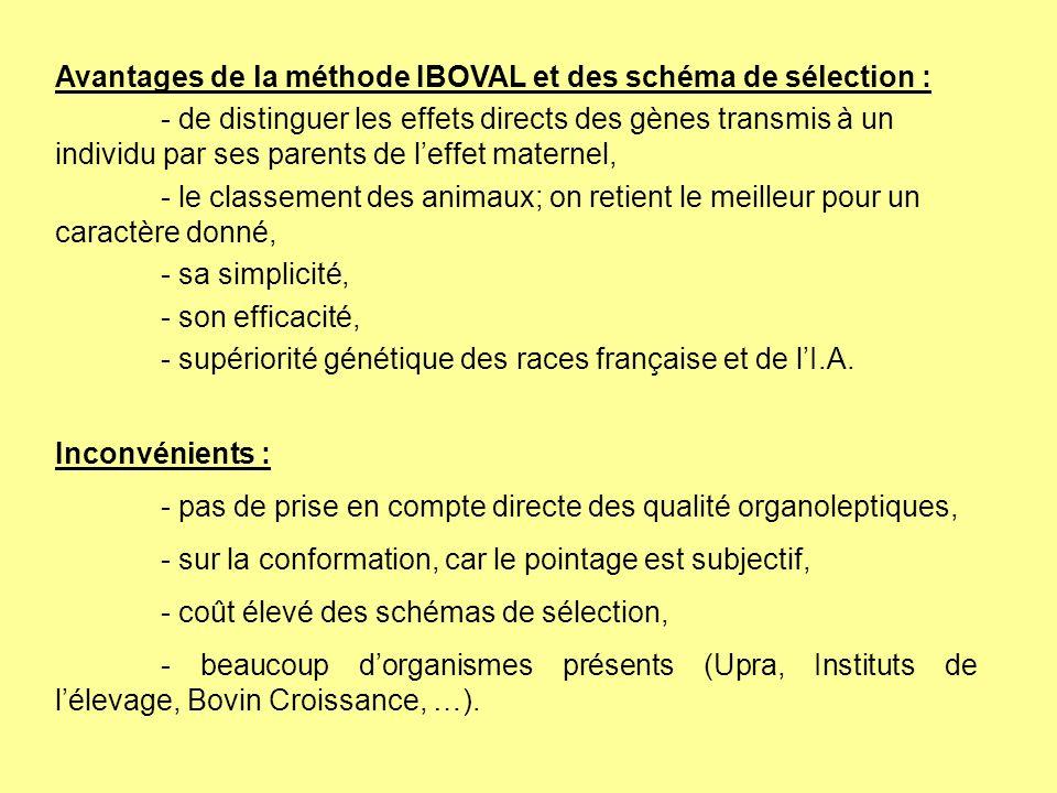 Avantages de la méthode IBOVAL et des schéma de sélection :
