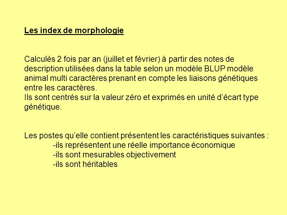 Les index de morphologie