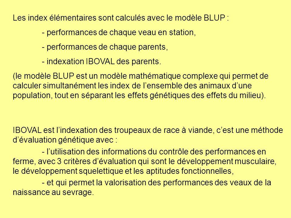 Les index élémentaires sont calculés avec le modèle BLUP :