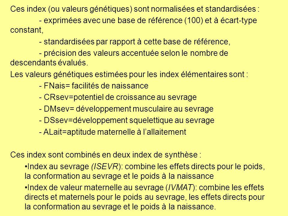 Ces index (ou valeurs génétiques) sont normalisées et standardisées :