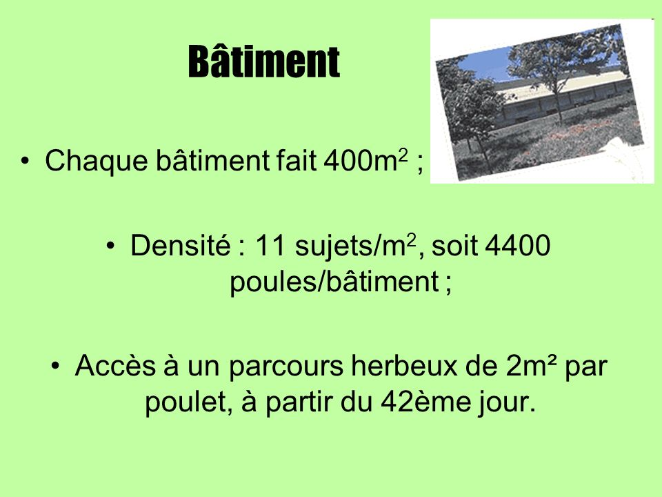 Bâtiment Chaque bâtiment fait 400m2 ;