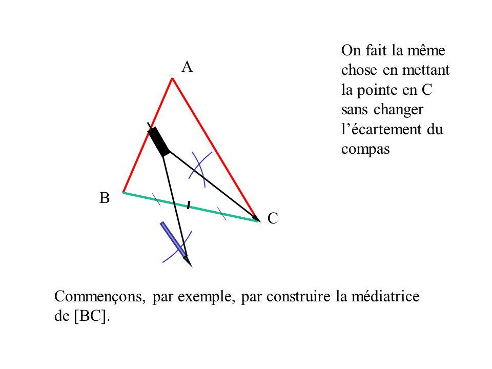 On fait la même chose en mettant la pointe en C sans changer l'écartement du compas