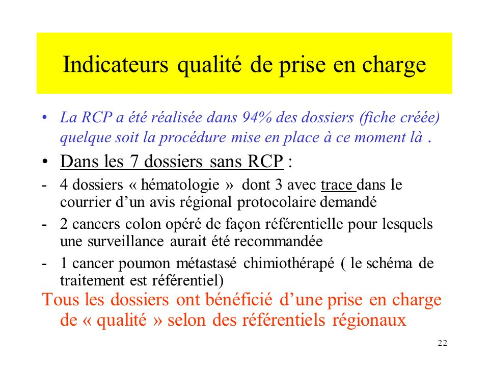 Indicateurs qualité de prise en charge