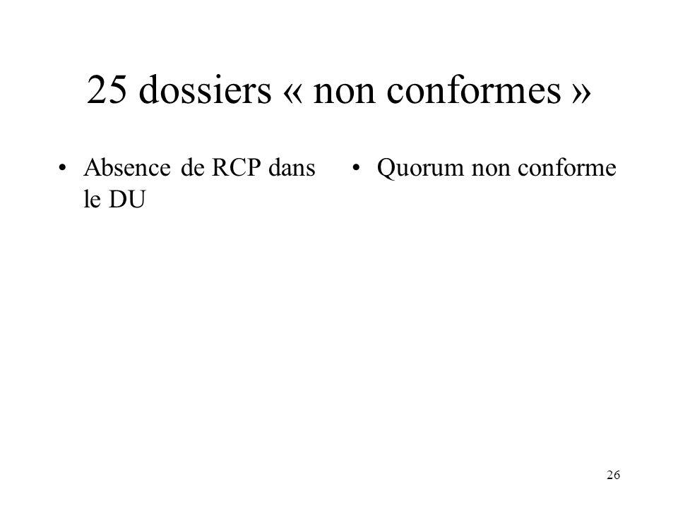 25 dossiers « non conformes »
