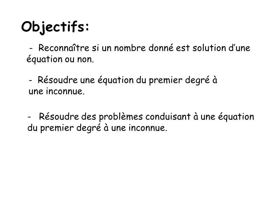 Objectifs: - Reconnaître si un nombre donné est solution d'une