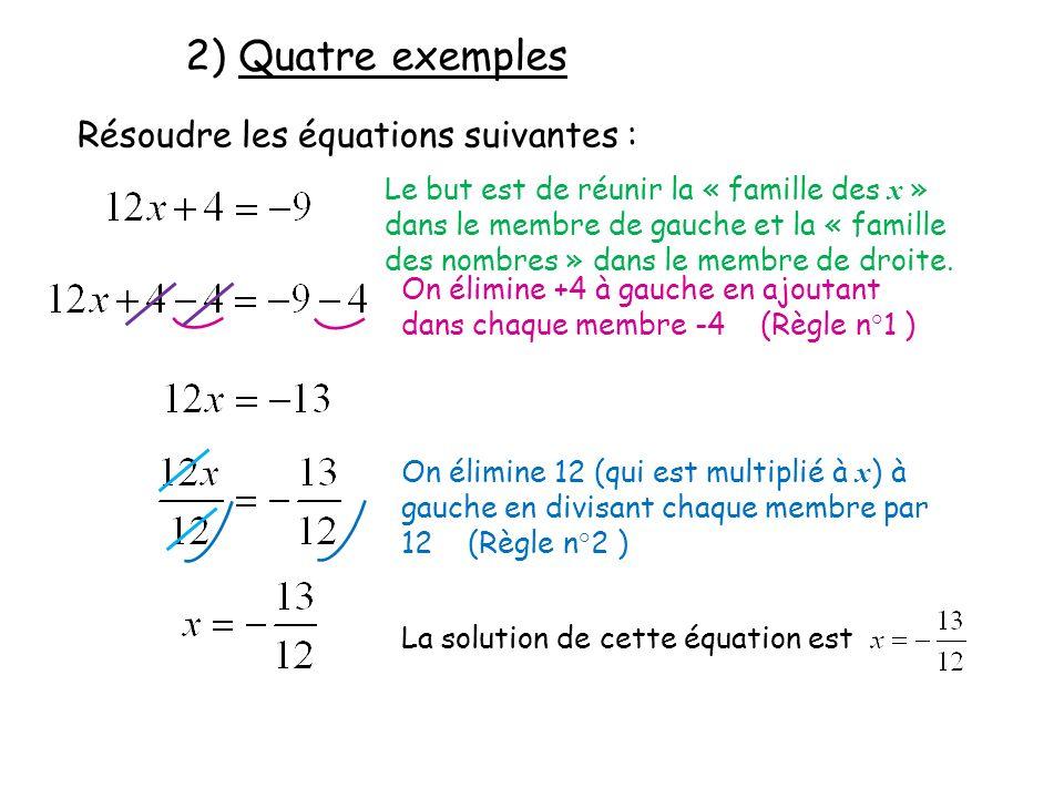 2) Quatre exemples Résoudre les équations suivantes :