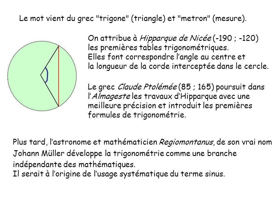 Le mot vient du grec trigone (triangle) et metron (mesure).