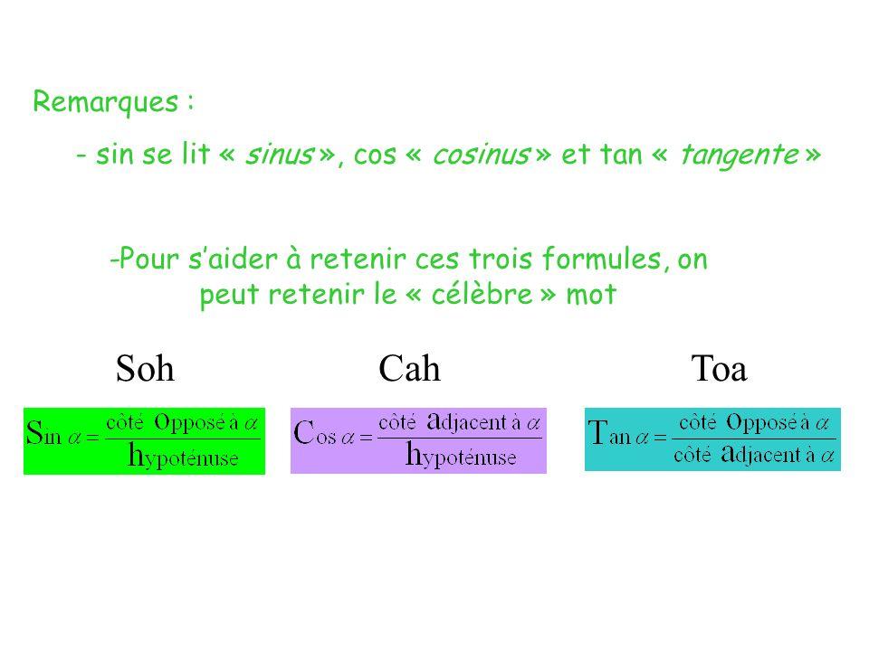 Remarques :- sin se lit « sinus », cos « cosinus » et tan « tangente »