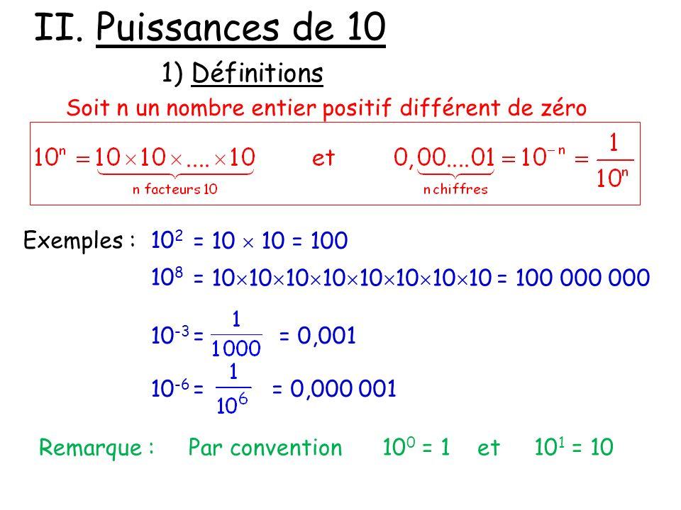 Puissances de 10 1) Définitions