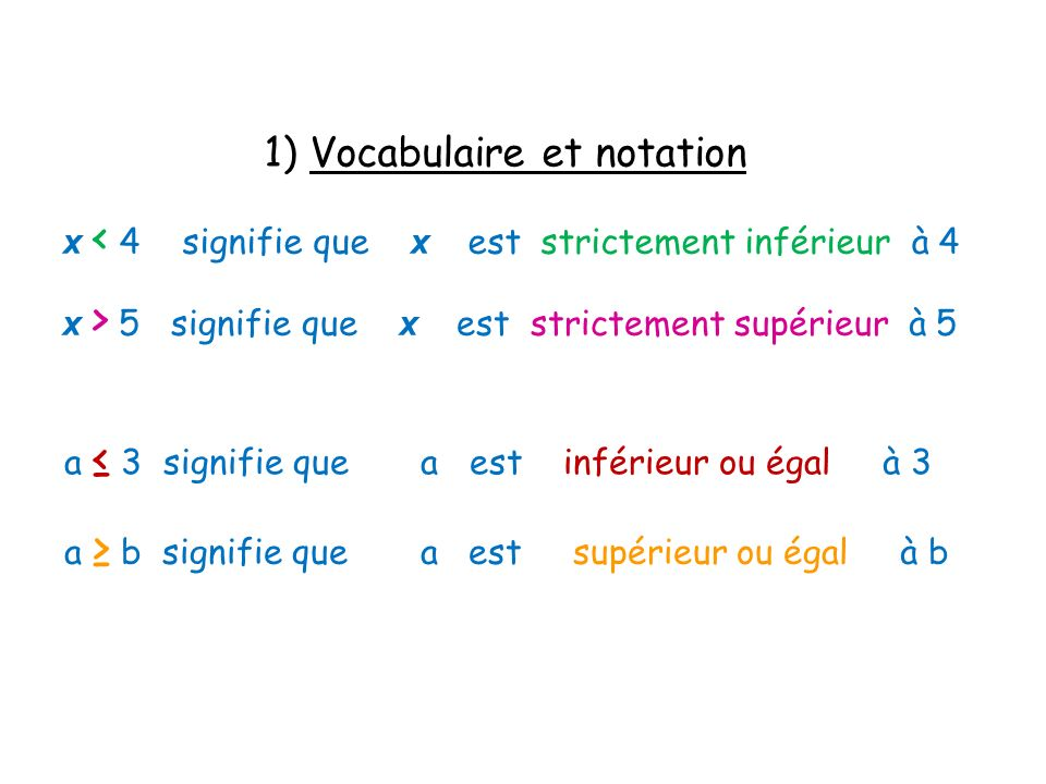 1) Vocabulaire et notation