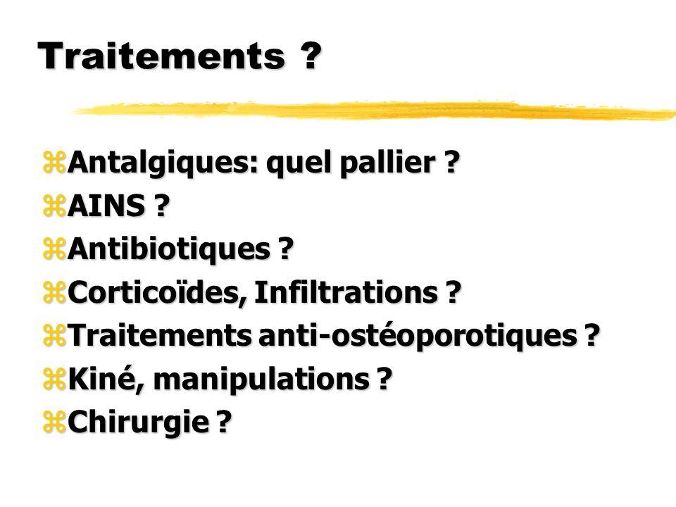 Traitements Antalgiques: quel pallier AINS Antibiotiques