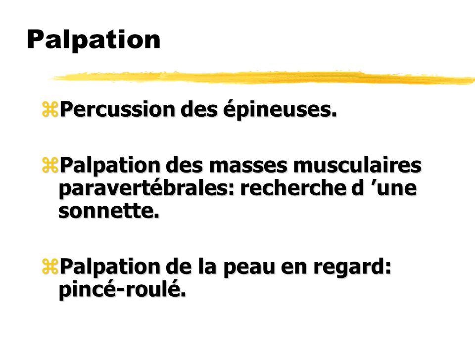 Palpation Percussion des épineuses.