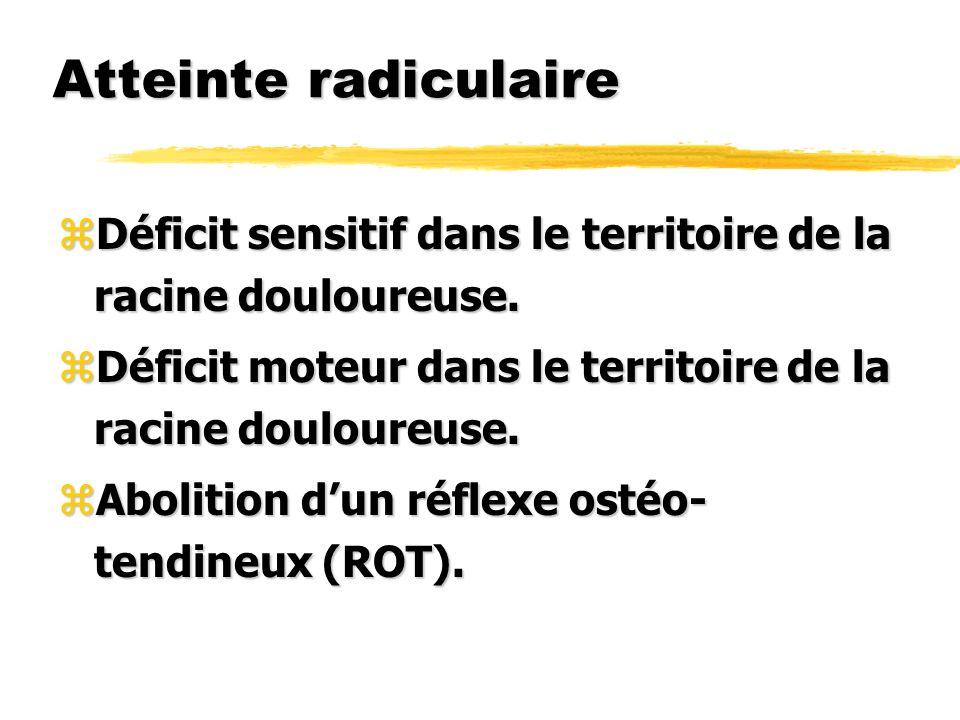 Atteinte radiculaire Déficit sensitif dans le territoire de la racine douloureuse. Déficit moteur dans le territoire de la racine douloureuse.