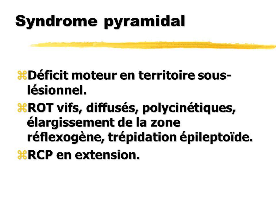Syndrome pyramidal Déficit moteur en territoire sous-lésionnel.