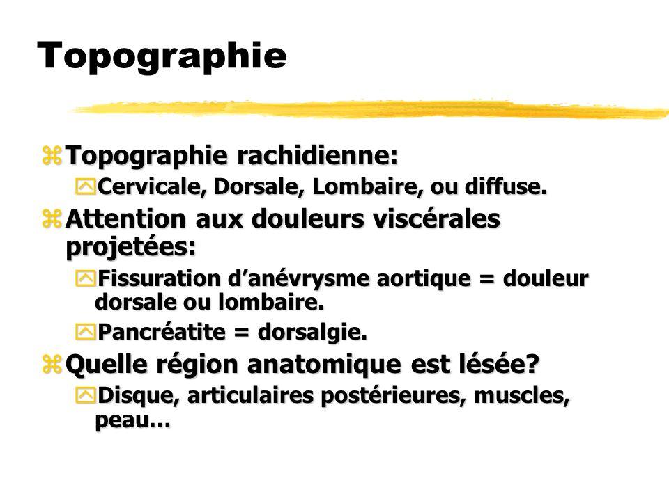 Topographie Topographie rachidienne: