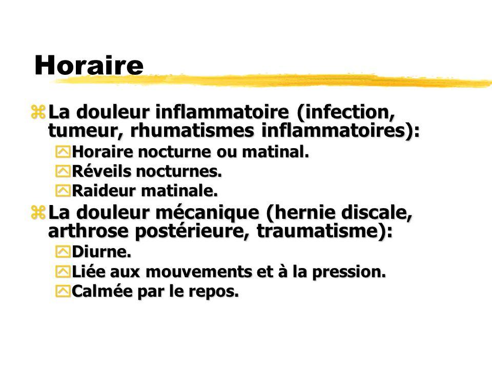 Horaire La douleur inflammatoire (infection, tumeur, rhumatismes inflammatoires): Horaire nocturne ou matinal.