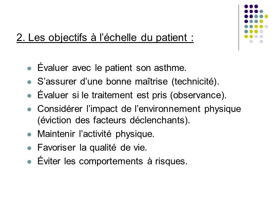 2. Les objectifs à l'échelle du patient :