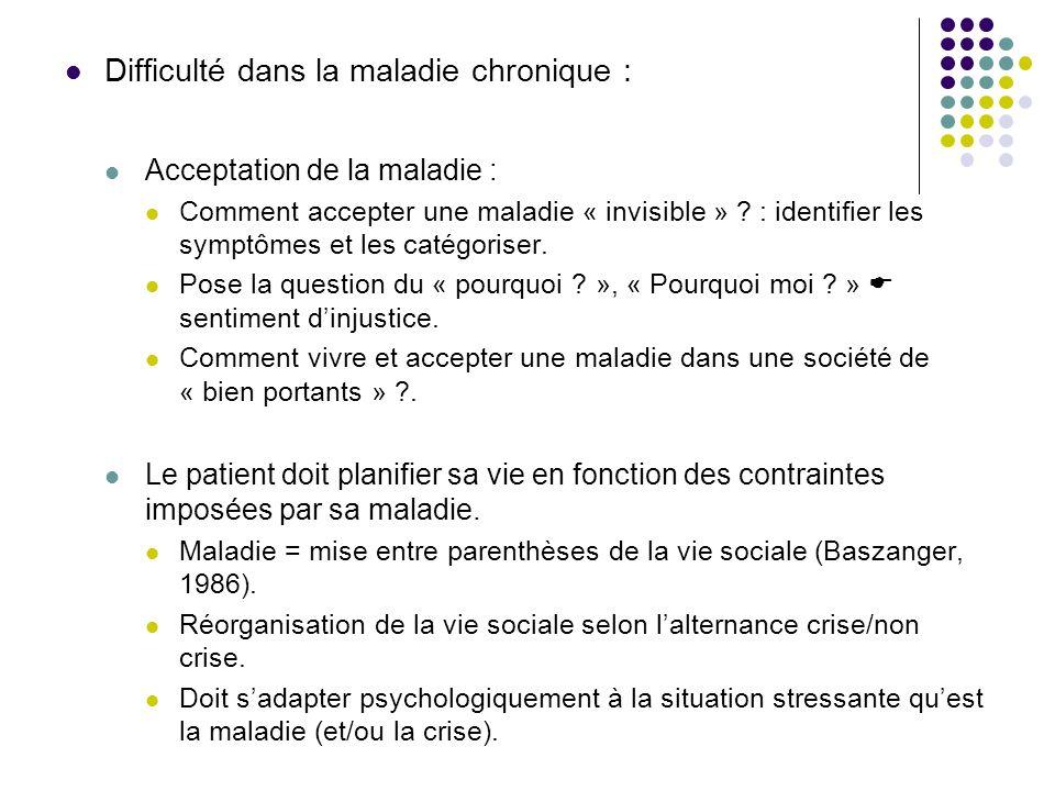 Difficulté dans la maladie chronique :