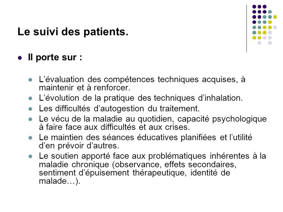 Le suivi des patients. Il porte sur :