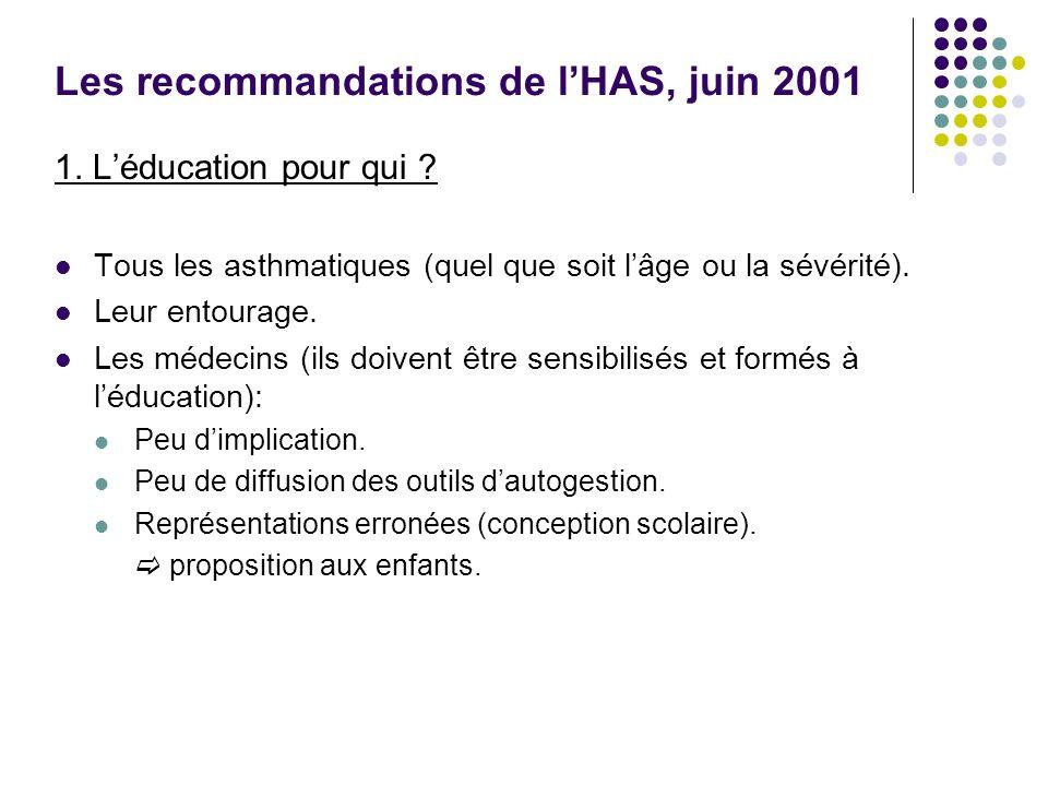Les recommandations de l'HAS, juin 2001