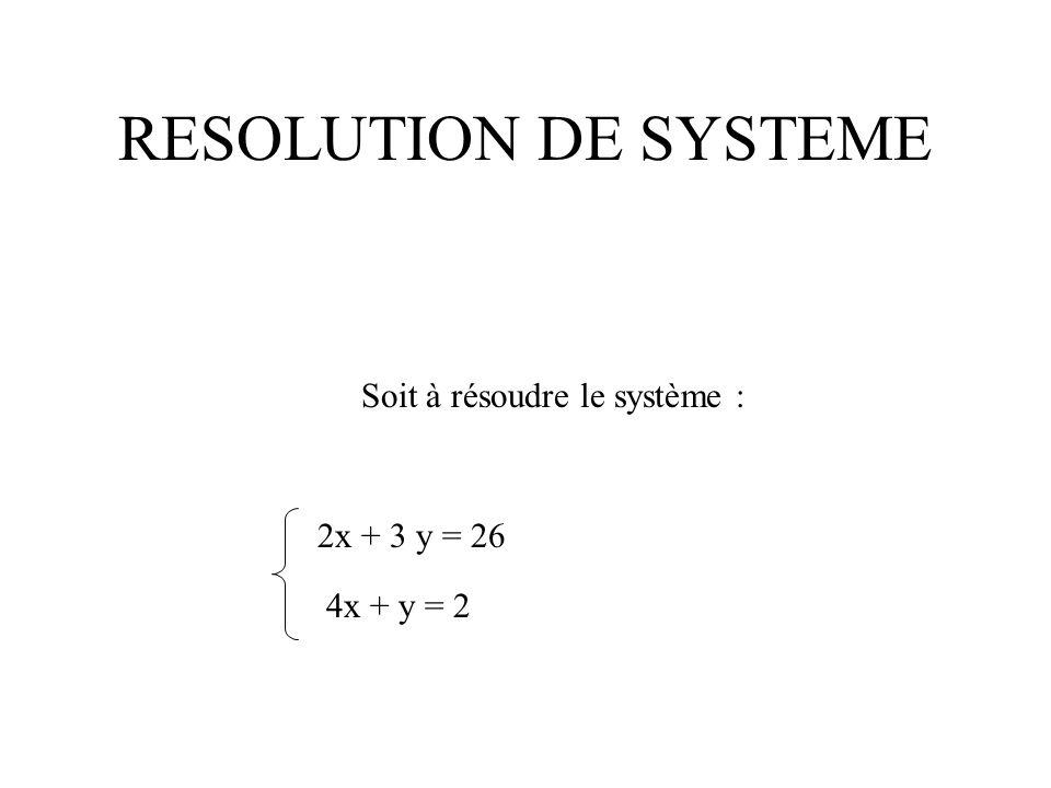 RESOLUTION DE SYSTEME Soit à résoudre le système : 2x + 3 y = 26